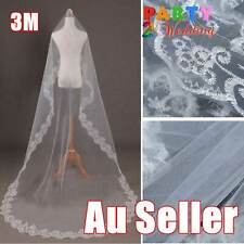 3M Long One-Tier Lace Edge Decor Bride Bridal Wedding Veil Mantilla Cathedral