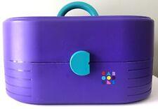 Vintage Caboodles Purple Teal Makeup Travel Case Caddy Mirror #2640