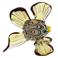 """Lampwork Hand Blown Glass Swirled Amber Fish Figurine 3"""" High New"""