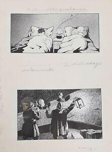 COUPLE OF CARICATURES. INK ON PAPER. JESUS SANCHEZ TENA. XXTH CENTURY.