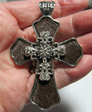 WESTERN COWGIRL MAGNETIC CRYSTAL HAIR ON HYDE BROWN CROSS NECKLACE PENDANT