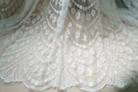 Vintage Scalloped French Chantilly Floral Lace Fabric Soft Wedding Lace Fabric