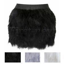 Womens Ostrich Feather Mini Skirt Steampunk Clubwear Elastic Waist Jazz Skirts