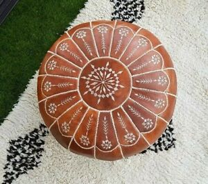 STUNING Moroccan Leather pouf ottoman with top arch design, Many colors availabe