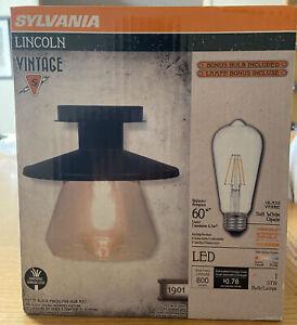 Sylvania Antique Matte Black Lincoln LED Barn Lantern Light Fixture