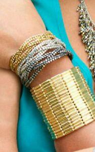 World Finds Cuff Bracelet HAND MADE Gold Boho Metallic Grid Brass  EXQUISITE