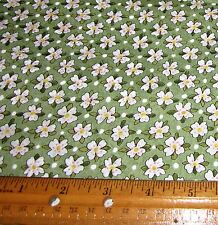 "1 yard of White 1/2"" Flowers on Green 100% Cotton Fabric"