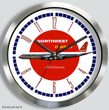 NORTHWEST AIRLINES DOUGLAS DC-8 WALL CLOCK 1960s METAL northwest orient