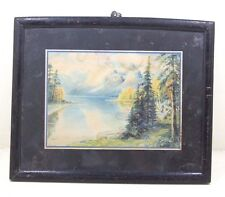 Vintage Beautiful Landscape Scene Litho Painting Print with Old Frame #346