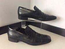 Prada Men's Leather Slip On Shoes, U.K. 8, Eu42.5, Black Blue Detail, Vgc