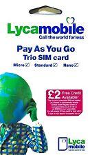 Lycamobile UK PAYG Sim with £ 5 credit Trio (Nano/Micro/Stand) SIM Card