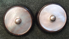 B185 ~ 2 VINTAGE ROTATING BROOCH BUTTONS Smoky Mother of Pearl Shells in Plastic