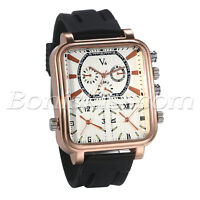 Mens Sports 3 Time Zones Square Dial Decoration Silicone Band Quartz Wrist Watch