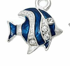 LOVELY SILVER & BLUE FISH 3D CLIP ON CHARM - WITH CLEAR RHINESTONES-SILVER PLATE