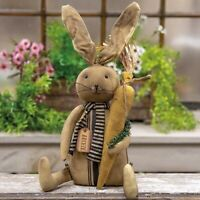 """Primitive AGED BUNNY RABBIT w/ CARROT DOLL Stuffed 14"""" Feedsack Rustic Country"""