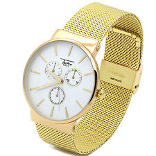 Ultra Slim Mens Gold Mesh Metal Band White Face Water Proof  Quartz  Watch TP