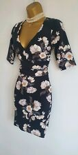 Jane Norman Super sexy cleavage Black White Floral textured Bodycon Mini dress 6