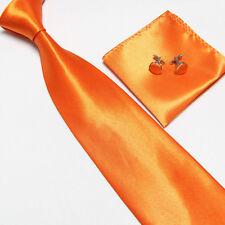 New Solid Men's Plain Necktie Formal Business Wedding Ties Hanky Cufflinks Set