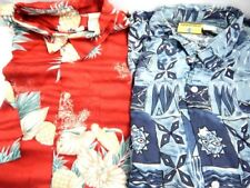 2 Vintage Red Hawaiian Flower Wild Pattern Sport Shirt Geometric Crazy Print L