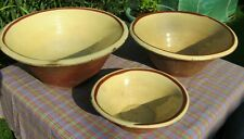 More details for 3 x victorian pancheon rustic bowls bread farmhouse dairy 31.5cm 45.5cm 50.5cm