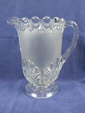 Vintage Depression Clear Glass Tea Water Frosted Pitcher Shell Drop Design Daisy
