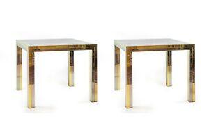 Pair of mid century italian brass side tables by Romeo Rega
