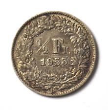 1953 B Switzerland 1/2 Half Franc Silver Coin KM# 23