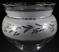 "Antique Glass GWTW Fish Bowl Oil Kerosene Lamp Shade Wheel Cut Floral 5"" Fitter"