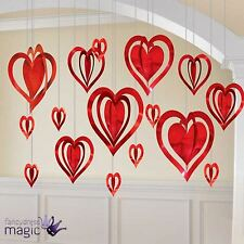 3d valentines day wedding engagement heart party hanging decoration kit 16 piece