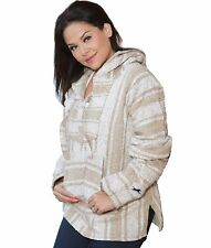 Large, Mexican Style Baja Hoodie Pullover Poncho, El Paso Designs (Stripe Beige)