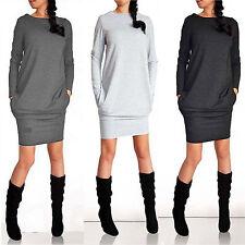 Damen Langärmeliges Minikleid Bodycon Pullover Sweatshirt Jumper Kleid GR.34-44