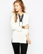 ASOS White Tunic Sweater With Side Splits & Lace Up Lattice Detail, UK10/US6