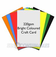 50 sheets A4 220gsm Bright Coloured Smooth Craft Card Thick Decoupage Quality