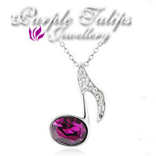 18CT White Plated Amethyst Music Sign Necklace Made With Swarovski Crystal