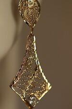 14K YELLOW GOLD .40CTW DIAMOND CHANDELIER ART DECO FILIGREE FLOWER EARRINGS