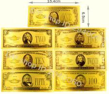 """★★ USA : SERIE DE 7 BILLETS POLYMER  """" OR """" 1,2,5,10,20,50 et 100 DOLLARS 1928★★"""