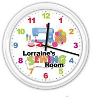 Sewing Room PERSONALIZED Wall Clock Craft Sewing Machine Thread GIFT