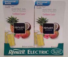 4 RENUZIT Caribbean Cooler ELECTRIC GEL PLUG IN REFILLS Fits Glade Plug-Ins
