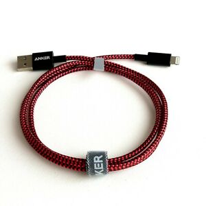 iPhone Charger RED BLACK Anker  Nylon Braided Charging Cable for iPhone