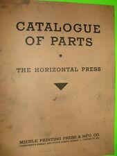 Letterpress Vintage Parts Catalog The Miehle Horizontal Press