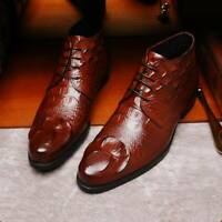 New Men Leather Ankle Dress Boots Lace up Crocodile Casual Shoes Formal Business