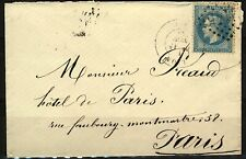France 1869 cover 20c Napoleon tied 2145 Lyon (68) with Paris arrival and Lyon A