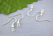 W09 200Pcs Silver Plated Ear Wire Hooks With Spring & Ball
