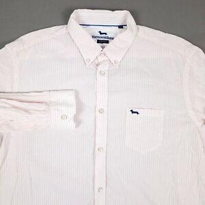 Harmont & Blaine Narrow Fit Pink Striped Men's 3XL Long Sleeve Button Up Shirt