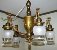 Antique Art Deco 5 Arm Chandelier Ceiling Fixture Brass Patina / Corinthian Urns