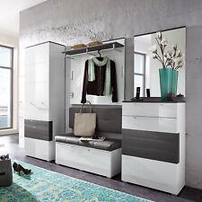 Garderobenset Reno Garderobe Schrank Bank Spiegel in weiß Hochglanz und grau