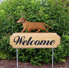 Dachshund Smooth Dog Breed Oak Wood Welcome Outdoor Yard Sign Red