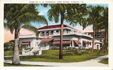 Fort Myers Florida First Street Home of C. B. Chadwick Vintage 1940s Postcard