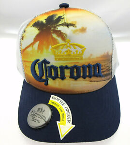 Corona Beer Beach Cap ~ Headwear Hat ~ With Bottle Opener ~ Vented Back