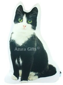 Black and White Shaped Cat Cushion, Handmade By Azura Gifts(Green Eyes) Large